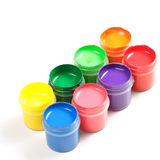 Two rows of paints Stock Image