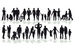 Two rows of people including adults and children Stock Photo