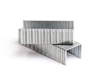 Two rows of staples in macro Royalty Free Stock Photo