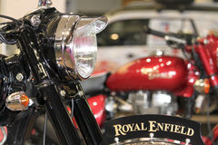 Two Royal Enfield. Detail of two Royal Enflield in Genoa Spring Fair 2010 Royalty Free Stock Photo
