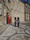 Two Royal life guards protecting the Danish Queen Royalty Free Stock Image