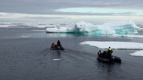 Two rubber boats with divers floating near icebergs, ice in Arctic Ocean. stock video