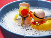 Two Rubber Ducks on Water Stock Photos