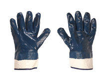 Two rubber protective blue gloves Stock Photo