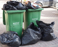 Two rubbish bins Stock Photography