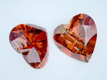 Two ruby heart. With perfect refraction Royalty Free Stock Image