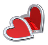 Two ruby hearts isolated on white. Computer generated 3D photo rendering Stock Images
