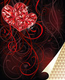 Two ruby hearts, love card Stock Images