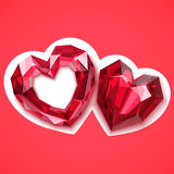 Two ruby hearts vector angular illustration Royalty Free Stock Photo