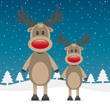 Two rudolph reindeer red nose Royalty Free Stock Photo