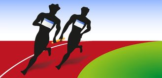 Two runner run for relay race Royalty Free Stock Photo