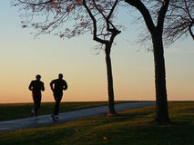 Two runners in silhouette Royalty Free Stock Image