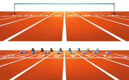 Two  running tracks with blocks and finish tape Royalty Free Stock Images