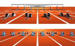 Two  running tracks with blocks and hurdles Stock Photography