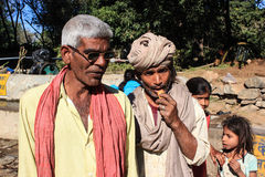 Two Rural Indian traditional attire. Men in photo are of Bharwad community a tribe of Gujarat, India. They live kind of nomads life. A Indian gypsy man at work Stock Photography