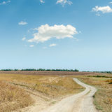 Two rural roads and cloud in blue sky Stock Photography