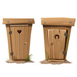 Two rural toilets on white background. Vector illustration Stock Image