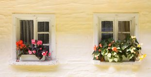 Two rural windows Royalty Free Stock Image