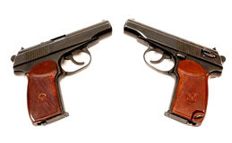 Two russian 9mm handguns Royalty Free Stock Photos