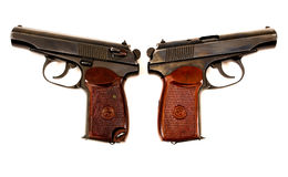 Two russian 9mm handguns. On a white background Stock Photography