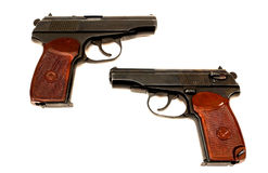Two russian 9mm handguns. On a white background Stock Image