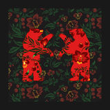 Two russian bear on the floral traditional pattern. illustration Royalty Free Stock Photos
