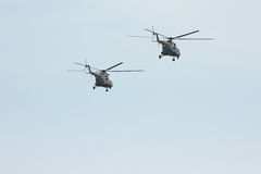 Two russian military transport helicopter MI-8 Stock Photos
