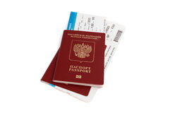 Two  Russian passports with boarding passes Stock Photos
