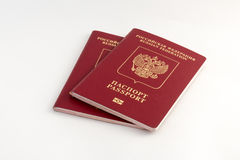 Two russian passports. On white background Royalty Free Stock Photo