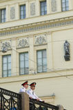 Two russian police officers royalty free stock photos