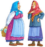 Two Russian rural women. Speak, to give  a smile  . Dresses, a jacket ancient footwear are dressed. In a hand a basket Stock Photo