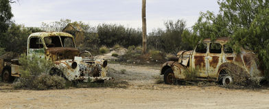 Two Rusted out cars- Broken Hill Royalty Free Stock Photo