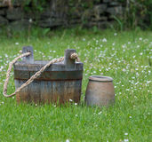 Two rustic containers Stock Photo