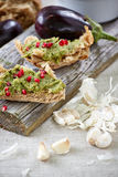Two rustic sandwiches on the board Royalty Free Stock Images