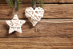 Two rustic straw Christmas ornaments Royalty Free Stock Images