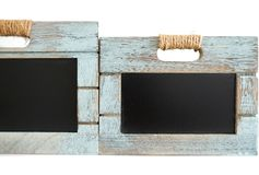 Two rustic wooden blue crate with chalkboard blackboard as copy space for your custom text Royalty Free Stock Photography