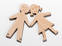 Two rustic wooden children Stock Photos
