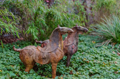 Two rusty bronze statuette of horse in garden Royalty Free Stock Photography