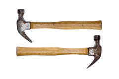 Two rusty claw hammers - equal power Royalty Free Stock Photography