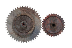 Two rusty cogwheels on white background Stock Images
