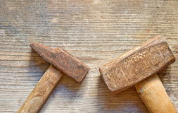 Two rusty hammers Stock Image