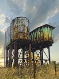 Two rusty industrial barrels Royalty Free Stock Images