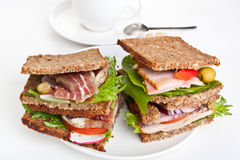 Two Rye Bread Sandwiches Stock Photography
