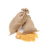 Two sacks with corn grains. Stock Photography