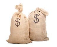 Two sacks full of dollars Stock Photography