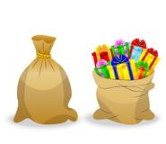 Two  sacks with gifts on a white background Stock Image