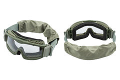 Two safety glasses, white background stock photo