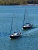 Two sail boats navigating Stock Photography
