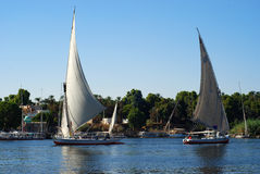 Two sail boats on Nile river, Aswan Stock Images