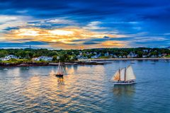 Free Two Sailboats At Sunset Royalty Free Stock Photos - 129487258